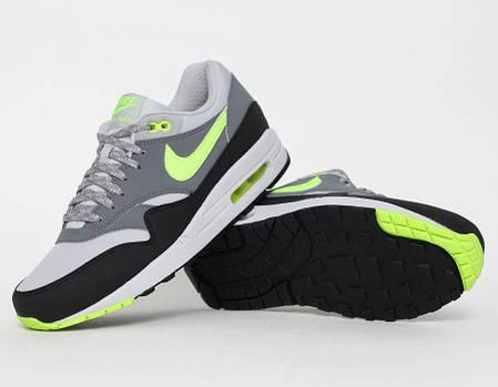 Мужские кроссовки Nike Air Max 87 серые с салатовым топ реплика, фото 2
