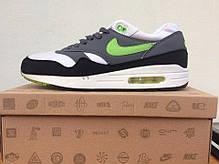 Мужские кроссовки Nike Air Max 87 серые с салатовым топ реплика, фото 3