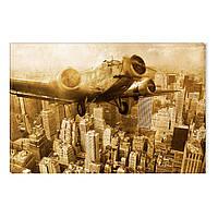 Светящиеся Картины Startonight Старый Самолет над Нью-Йорком Ретро Печать на Холсте Декор стен Дизайн