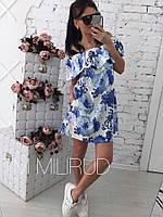Платье женское летнее свободного кроя с открытыми плечами в разных расцветках