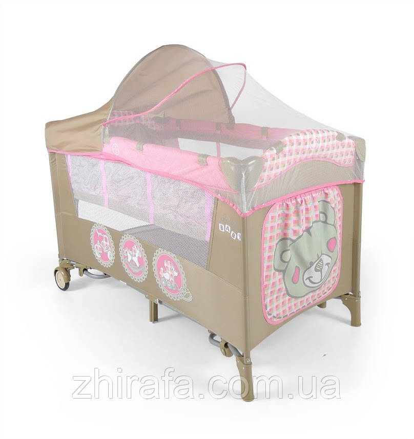 Кроватка-манеж Milly Mally Mirage Deluxe Pink Toys