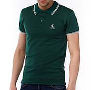 Мужская футболка polo YSTB с воротником темно-синяя (мужские футболки, молодежные, стильные, поло)