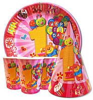 """Набор розовый для 1-го  Дня Рождения""""1 Happy Birthday """" Тарелки -10 шт. Стаканчики - 10 шт. Колпачки - 10 шт."""