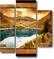 "Модульная картина ""Горы и озеро""  (980х890 мм)  [3 модуля]"