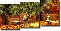 "Модульная картина ""Девочка в осеннем лесу""  (800х1630 мм)  [3 модуля]"