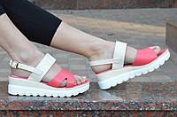 """Босоножки, сандали на платформе женские цвет белый, """"пудра"""", легкие, на пряжке 2017. Экономия"""