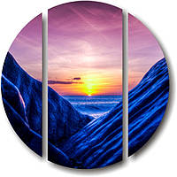 "Модульная картина ""Синие скалы""  (диаметр 900 мм)  [3 модуля]"