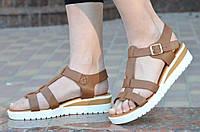 Босоножки, сандали на платформе женские коричневые легкие, на пряжке 2017. Топ