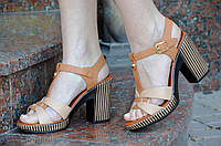 Босоножки на каблуке женские светло и темно коричневые легкие искусственная кожа 2017.