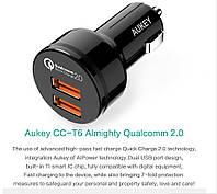 Aukey СС-Т6 - автомобильное зарядное 2*USB с Quick Charge 2.0