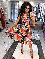 Платье  Юбка - клёш Ткань: коттон цветочный принт темно-синий, белый, голубой, желтый дпог №1068