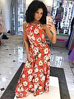 Длинное платье с разрезом Талия на резинке Ткань: софт армани Цвет: три расцветки цветочного принта авел №1067