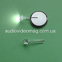 Светодиод белый 3V 4,8 мм для фонаря