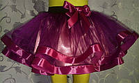 Детская юбка на резинке, баклажановая
