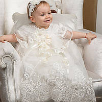 Крестильный набор  для девочки Вероника от Miminobaby от 6 до 12 месяцев молочный