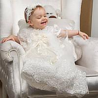 Крестильная рубашка для девочки Вероника от Miminobaby от 6 до 12 месяцев молочная