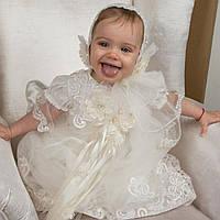 Крестильный набор для девочки Вероника от Miminobaby от 0 до 6 месяцев  молочный 3ac816ce6ec9c