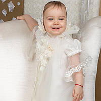 Крестильная рубашка для девочки Вероника от Miminobaby от 0 до 6 месяцев молочная