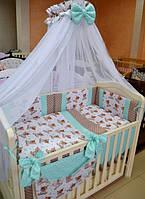 """Постель в детскую кроватку """"Мишка Тедди с мятным горошком"""", фото 1"""