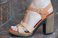Босоножки на каблуке женские светло и темно коричневые легкие искусственная кожа.