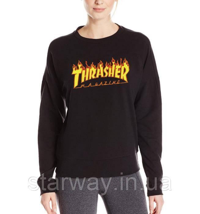 Свитшот черный принт Thrasher | Кофта женская