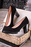 Туфли черного цвета на каблуке женские O-13534