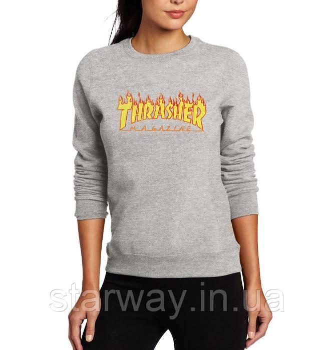 Свитшот серый принт Thrasher | Кофта женская