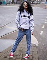 Толстовка серая с принтом Thrasher | Худи женская