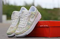 Женские кроссовки Nike Airforce, текстильная сетка, белые з зеленым / кроссовки женские Найк Аирфорс, модные