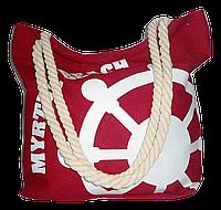 Женская пляжная сумка из ткани красного цвета WUU-100155, фото 1