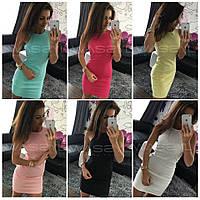 Модное мини платье в расцветках