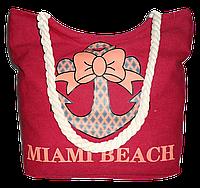 Женская пляжная сумка из ткани красного цвета WUU-100157, фото 1