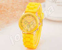 Женские часы Geneva Yellow силиконовый ремешок