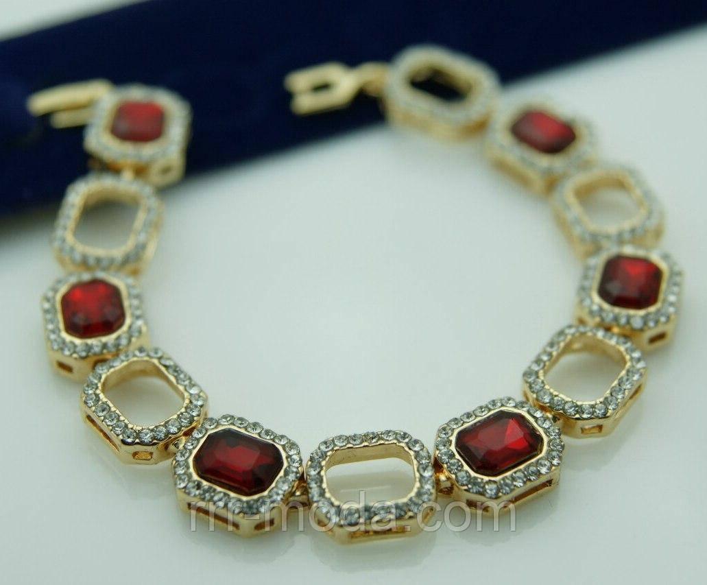 Красные красивые браслеты из квадратных камней 1084