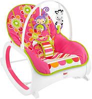 Fisher-Price Кресло-качалка с вибрацией шезлонг Цветочные конфетти стандартное с рождения до 4 лет Infant-to-Toddler Rocker Floral Confetti
