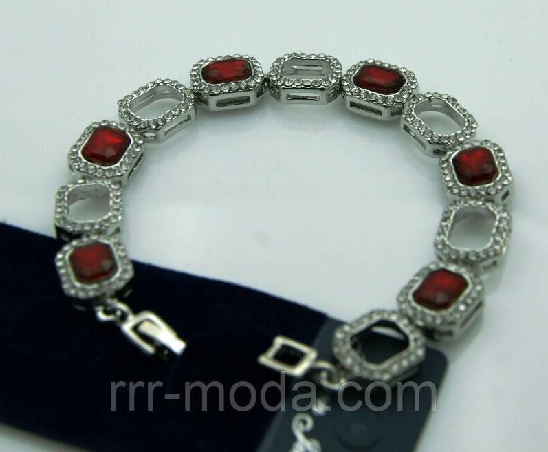 Красный красивый браслет из красных камней 1085