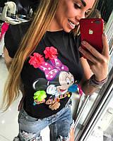 Женская черная футболка с Минни Маусом