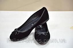 Балетки женские замшевые черного цвета My Denim Италия