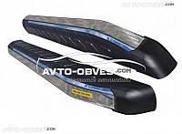Защитные боковые подножки для VW Amarok 2016-... с окантовкой из нержавейки (стиль Range Rover Sport)