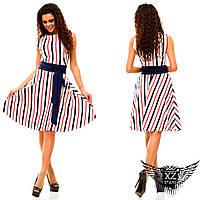 Платье с юкбой клеш до колена и поясом, цвета красное, тёмно-синее, белое, все размеры