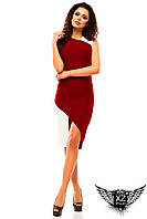 Платье асимметричное с косой линией и вырезом спереди, цвета красное, белое, черное, все размеры, другие цвета