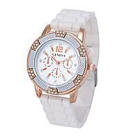 Женские часы Geneva White силиконовый ремешок со стразами