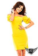 Коротенькое платье с открытыми плечиками до колен, спущенные рукава,  цвет желтое, тёмно-синее, красное, все размеры