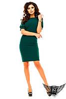 Платье до колен с коротким рукавом, офисное, цвета тёмно-зеленое, синее, красное, тёмно-синее, все размеры