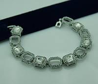 Женский браслет из белых камней. Ювелирная бижутерия 1089