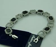 Женский браслет из черных камней. Ювелирная бижутерия 1090