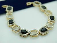 Женский красивый браслет из черных камней. Ювелирная бижутерия 1091