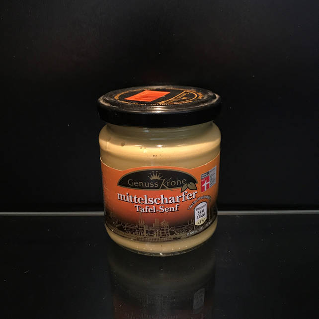 Немецкая горчица Муштарда Mittelscharfer Genuss krone 200г