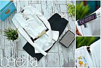 Очень стильный костюм кофточка с баской пояс в комплекте, расцветочки