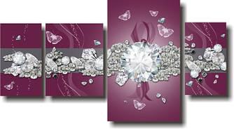 """Модульная картина """"Алмазы и бриллианты""""  (1800х970 мм)  [4 модуля]"""